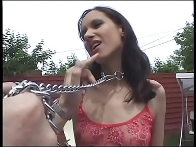 Slender brunette with small tits Esmeralda in dog collar was banged near the pool