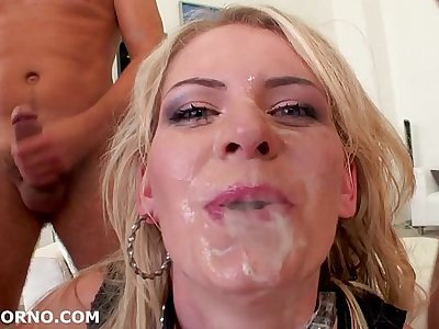 Manhandled like a bitch, Claudia Macc reduced to a dog eating her own ass juicy. Deep Gagging, DP/DA